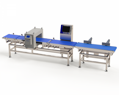 Teltek C60 checkweigher combined with metal detector for complete product control